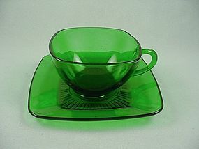 FireKing Charm Cup & Saucer Set- Forest Green