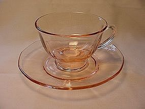Fostoria Fairfax Footed Cup &amp; Saucer - Pink