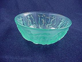 Consolidated Dancing Nymphs Berry Bowl - Green Satin