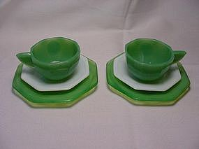 Akro Agate Octagonal Green & White Dishes